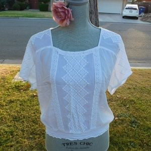 Lucky Brand White Blouse Top with Embroidery